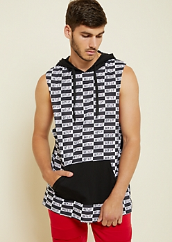 Black Checkered Get Lit Hooded Tank Top