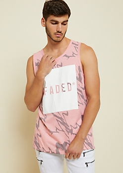 Pink Marble Print Faded Box Tank Top