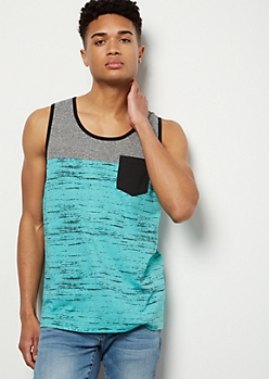 Turquoise Space Dye Colorblock Henley Tank Top