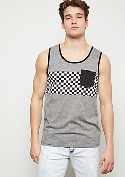 Gray Marled Checkered Print Colorblock Henley Tank Top