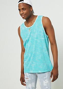 Teal Pinstripe Tie Dye Tank Top