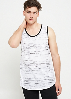 White Space Dye Ringer Tank Top