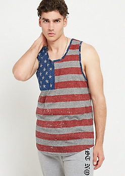 Black Marled Distressed Flag Print Tank Top