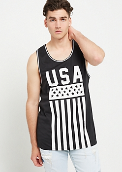 Black USA Print Mesh Tank Top