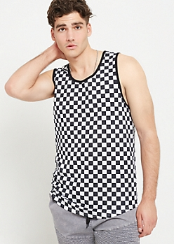 Black Checkerboard Print Ringer Tank Top