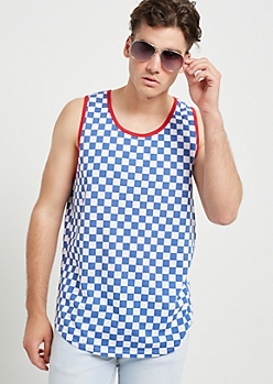 Blue Checkerboard Print Ringer Tank Top