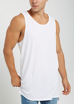3-Pack White Long Length Muscle Tank Top Set