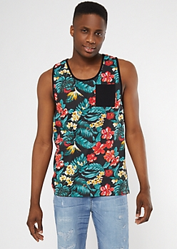Black Tropical Floral Print Tank Top