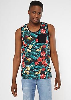 Black Tropical Floral Print Tank Top