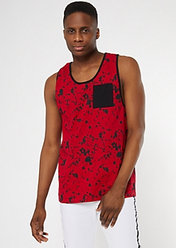 Red Paint Splattered Tank Top