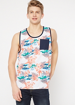 White Tropical Floral Print Tank Top
