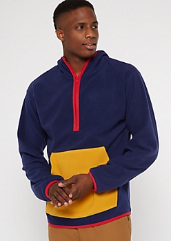 Navy Colorblock Fleece Pullover