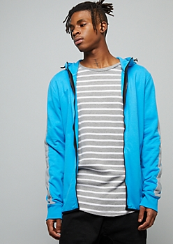 Blue Side Striped High Zip Front Fleece Hoodie