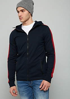 Navy Side Striped High Zip Front Fleece Hoodie