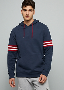 Navy Varsity Striped Fleece Hoodie