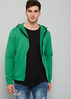 Green High Zip Front Fleece Hoodie