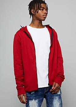 Red High Zip Front Fleece Hoodie