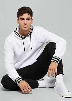 White Striped Trim Hoodie
