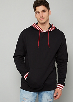 Black Striped Trim Fleece Hoodie