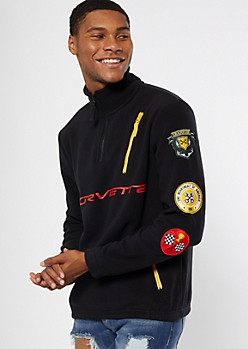 Black Corvette Patch Half Zip Sweatshirt