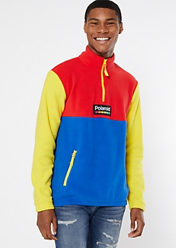 Blue Colorblock Polaroid Half Zip Sweatshirt