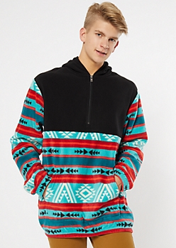 Teal Colorblock Border Print Polar Fleece Hoodie