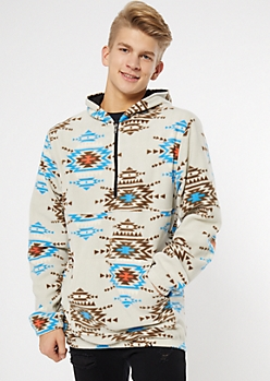 Tan Border Print Polar Fleece Hoodie