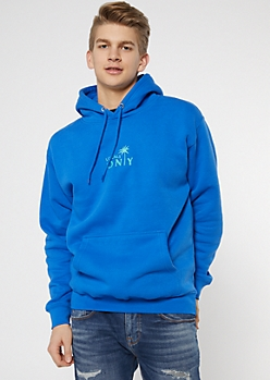 Blue Locals Only Palm Tree Embroidered Hoodie