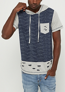 Shredded Color Block Short Sleeve Hoodie