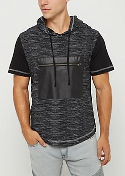 Marled Zip Pocket Short Sleeve Hoodie