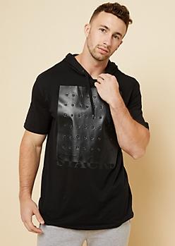 Black Faux Leather Stacks Short Sleeve Hoodie