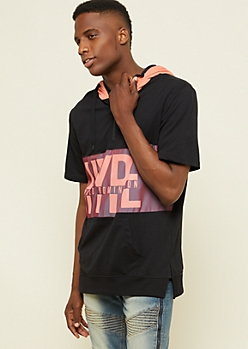 Black Hype Colorblock Short Sleeve Hoodie