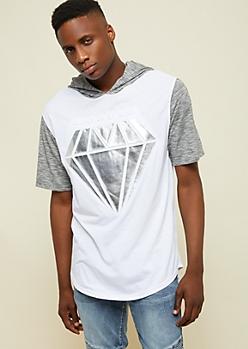 White Metallic Raised Diamond Hooded Tee