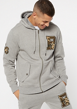 Parish Nation Gray Camo Print Zip Up Hoodie