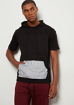 Black Moto Reflective Pocket Hooded Tee