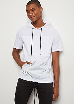 White Moto Reflective Pocket Hooded Tee