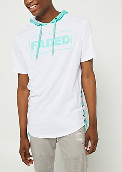 White Lace Up Faded Short Sleeve Hoodie