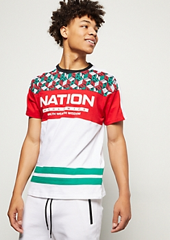 Parish Nation Green Colorblock Striped Tee