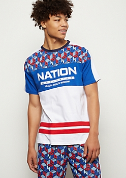 Parish Nation Royal Blue Colorblock Striped Tee