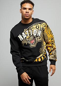 Black Tiger Print Chenille Varsity Letter Sweatshirt