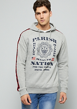 Parish Nation Gray Side Striped Pullover Hoodie