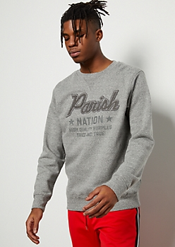 Parish Nation Gray Fuzzy Chenille Sweatshirt