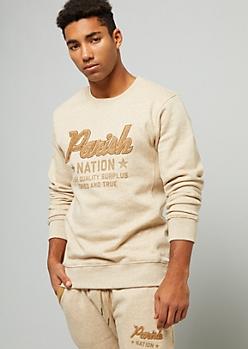 Parish Nation Khaki Fuzzy Chenille Graphic Sweatshirt