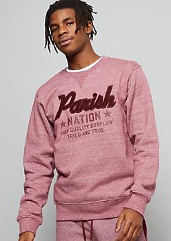 Parish Nation Burgundy Fuzzy Chenille Graphic Sweatshirt