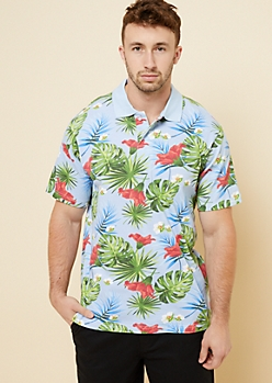 Parish Nation Light Blue Tropical Floral Print Polo