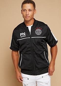Parish Nation Black Side Striped Graphic Track Jacket