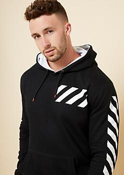 Black Striped Sleeve Fleece Hoodie