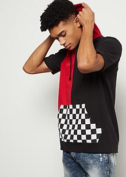 Black Split Checkered Print Colorblock Hooded Tee