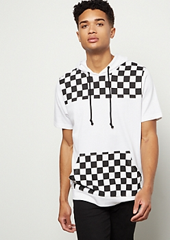White Checkered Print Colorblock Hooded Tee