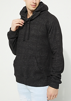 Black Funnel Neck Fleece Hoodie